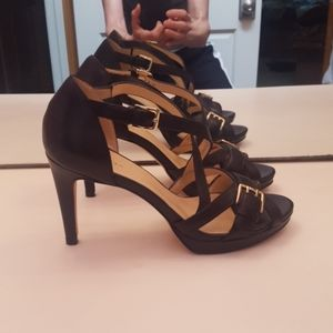 COLE HAAN BLACK LEATHER STRAPPY PUMP SANDAL